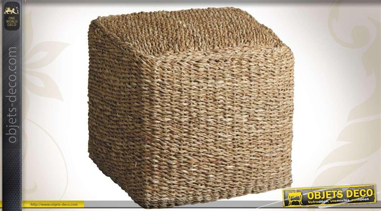 Pouf forme cube structure en bois habillage noir capitonn - Pouf jonc de mer ...