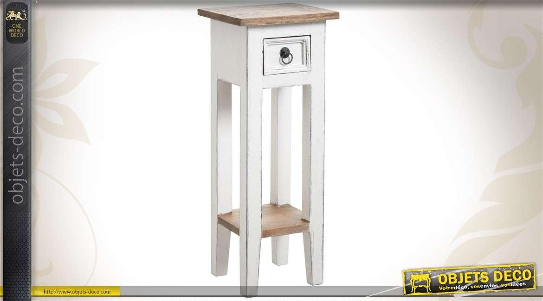 Sellette en bois coloris blanc ancien et finition bois