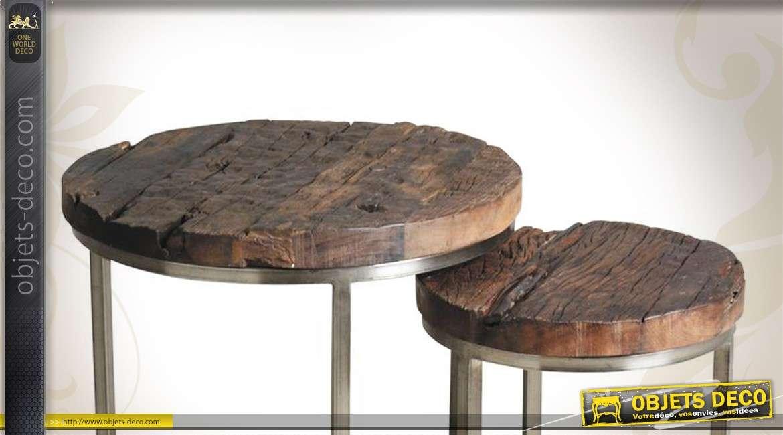 Série de 2 tables gigognes en métal et bois massif finition brute