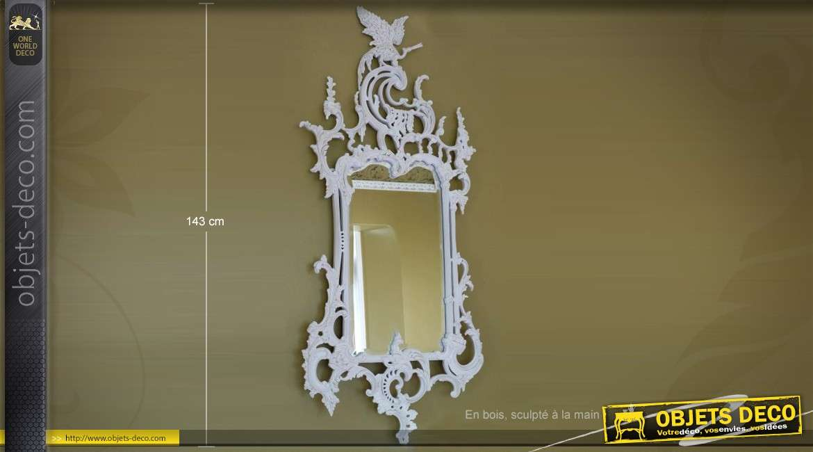 Grand miroir baroque dor luxueux sculpt la main 160 cm for Miroir mural 180 cm