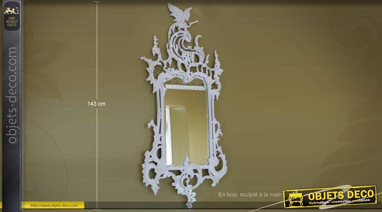 miroir en bois ajour patine blanche motifs de fleurs 55 cm. Black Bedroom Furniture Sets. Home Design Ideas