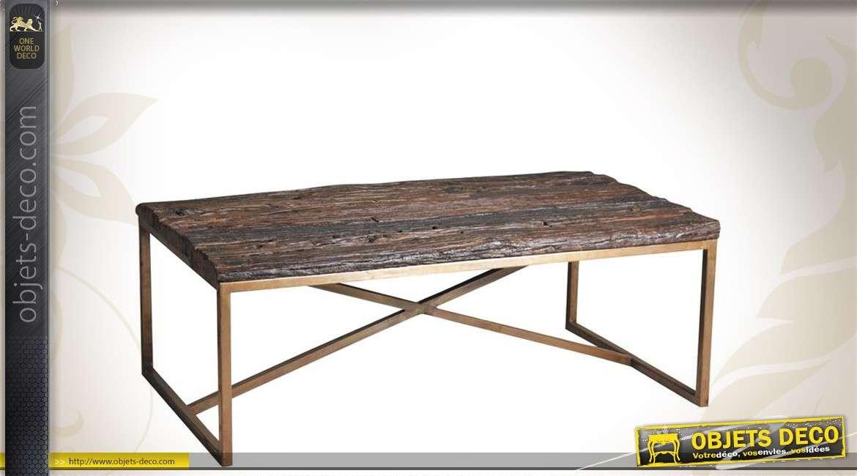 Table basse rectangulaire en bois massif finition brute et acier cuivré