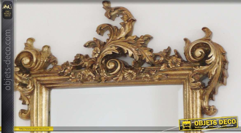 Miroir baroque doré avec glace biseautée 62 cm