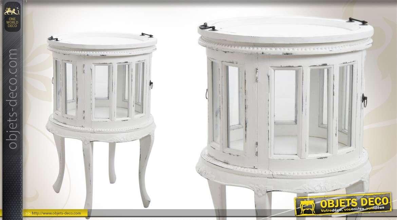 Meuble bar et range-bouteilles en bois patiné blanc finition ancienne de style romantique