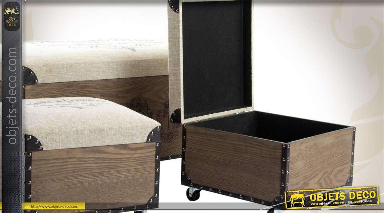 trio de coffres de rangement en bois et lin de style vintage. Black Bedroom Furniture Sets. Home Design Ideas