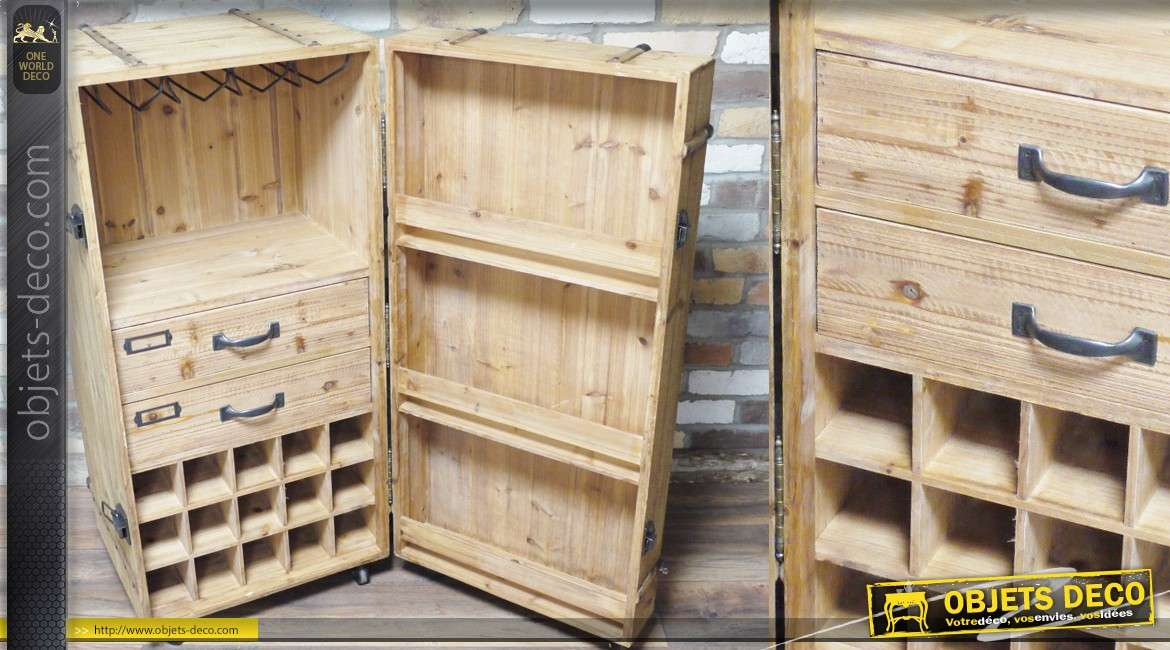 coffre cave armoire vin en bois finition brut. Black Bedroom Furniture Sets. Home Design Ideas