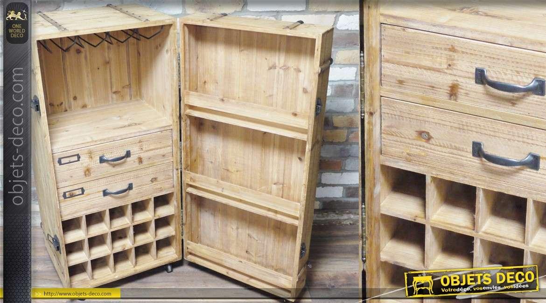 Coffre cave armoire meuble à vin en bois finition brut