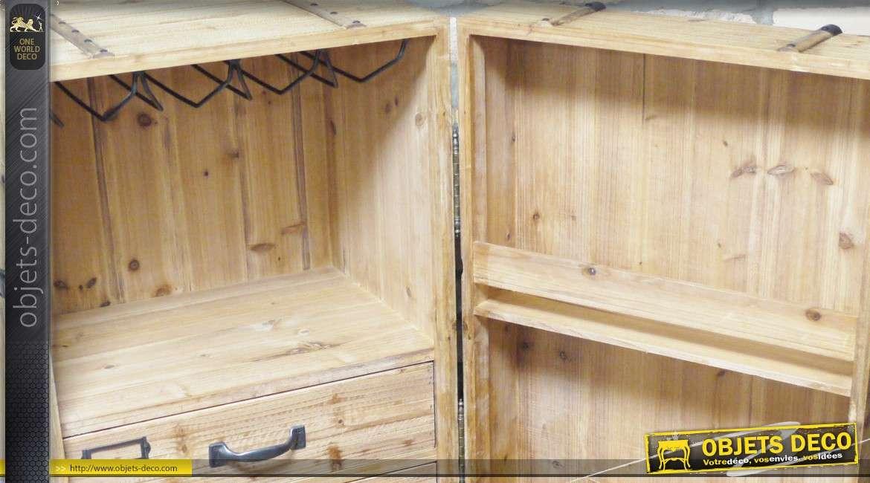 coffre cave armoire meuble vin en bois finition brut. Black Bedroom Furniture Sets. Home Design Ideas