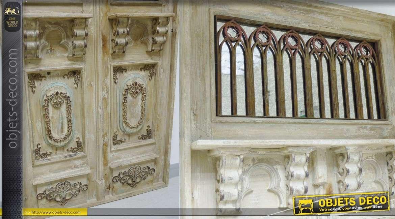 Tr s grand miroir en forme de porte double ancienne bois for Miroir de porte