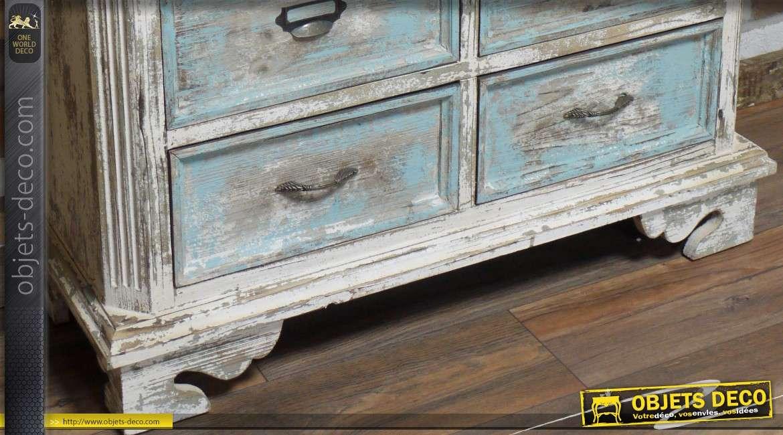 Grande commode à 9 tiroirs de style rustique et brocante