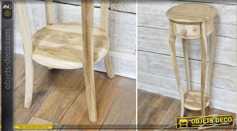 haute sellette ronde un tiroir en bois finition brut 89 cm. Black Bedroom Furniture Sets. Home Design Ideas
