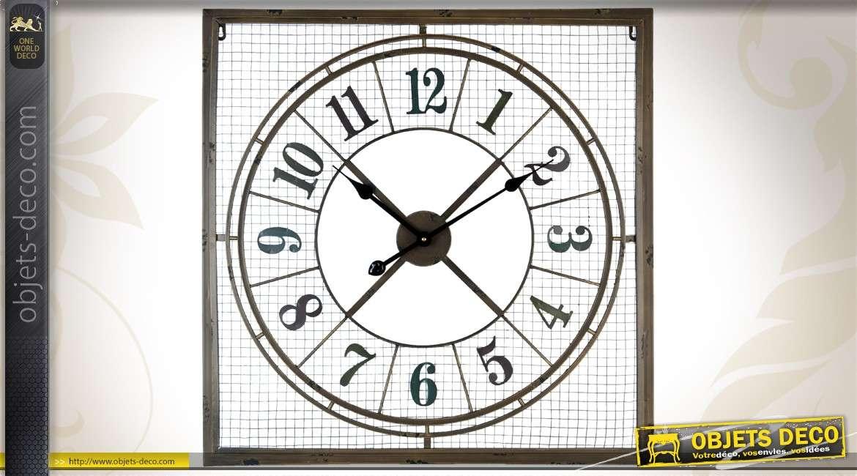grande horloge murale 80 cm style industriel r tro. Black Bedroom Furniture Sets. Home Design Ideas