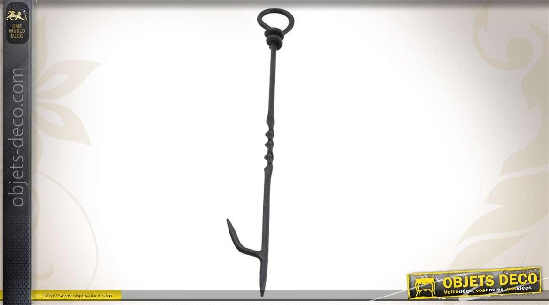 Tisonnier de cheminée en métal noir