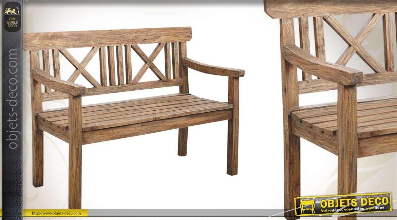 Banc de jardin 2 places en bois finition naturelle antique