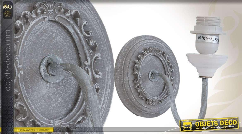 applique murale en bois patin gris finition vieillie. Black Bedroom Furniture Sets. Home Design Ideas