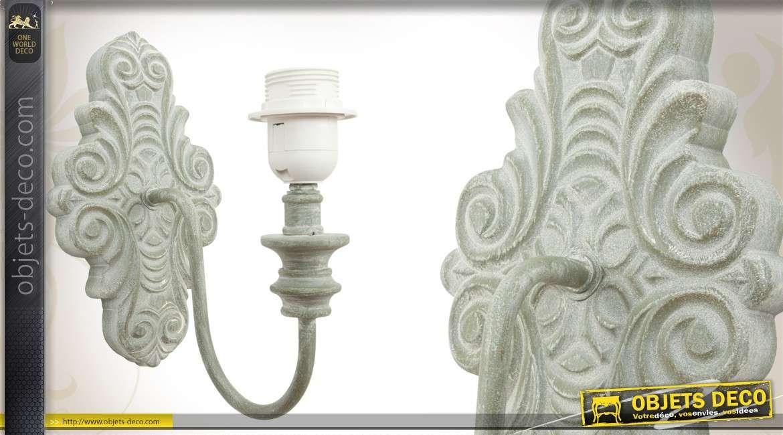 Applique Patiné Blanc Charme En Métal Murale De 8nwXZOPkN0