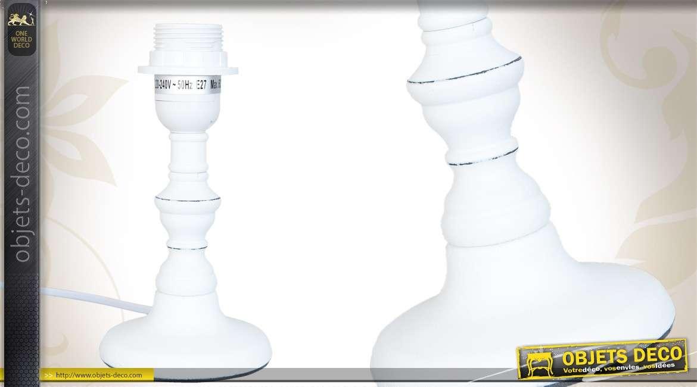 Pied De Lampe De Chevet En Bois Tourne Coloris Blanc Ancien