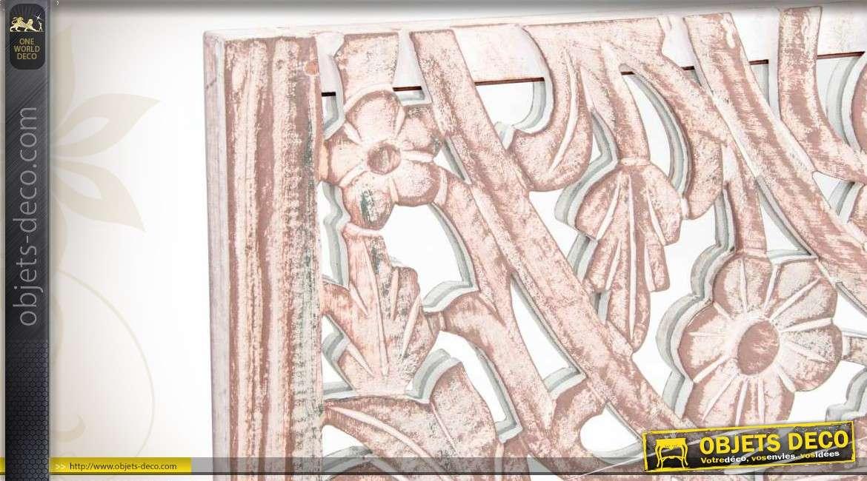 d coration murale en bois patin et en verre avec ornementation florale. Black Bedroom Furniture Sets. Home Design Ideas