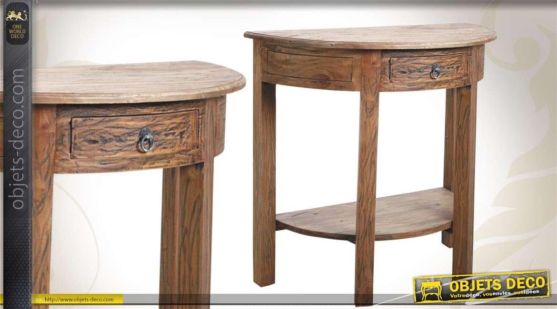 Console demi-lune en bois avec tiroir finition ancienne bois naturel