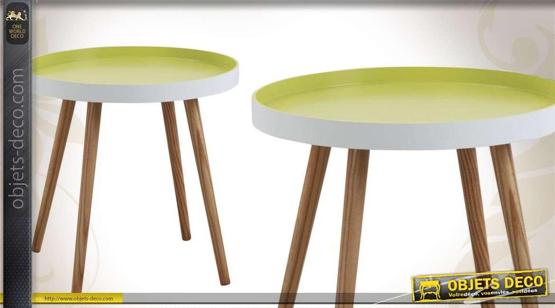 Petite table en bois avec plateau rond bicolore anis et blanc
