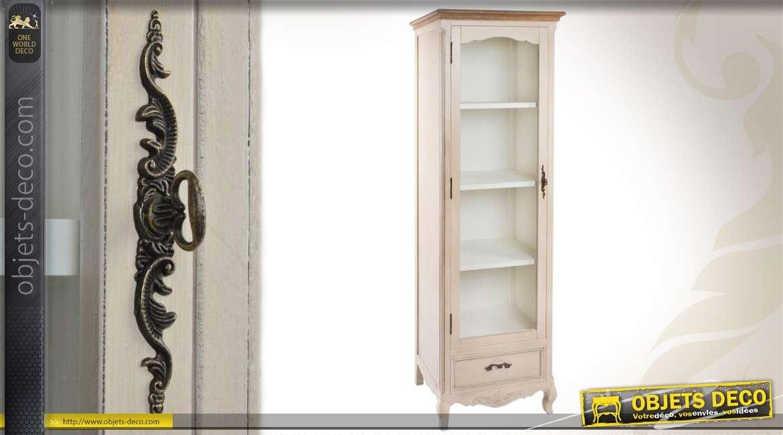 vitrine en bois et patine crme antique de style campagne chic