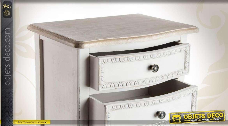 chiffonnier romantique patin blanc ancien en bois. Black Bedroom Furniture Sets. Home Design Ideas