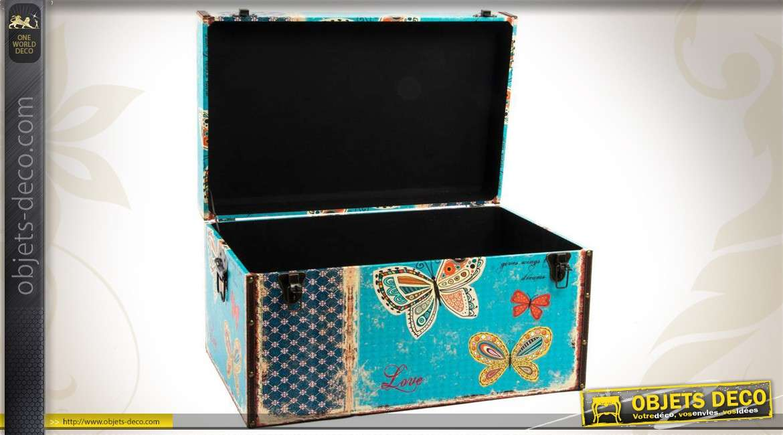 trio de coffres de rangement en bois motifs papillons. Black Bedroom Furniture Sets. Home Design Ideas