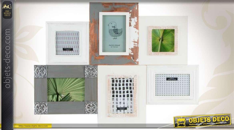 cadre photos mural multivues en bois divers coloris. Black Bedroom Furniture Sets. Home Design Ideas