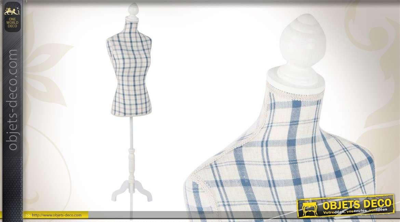 mannequin de couture en bois et en tissu coloris blanc et bleu. Black Bedroom Furniture Sets. Home Design Ideas