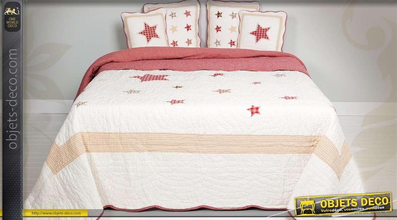 boutis toil en coton naturel 260 x 260 cm. Black Bedroom Furniture Sets. Home Design Ideas