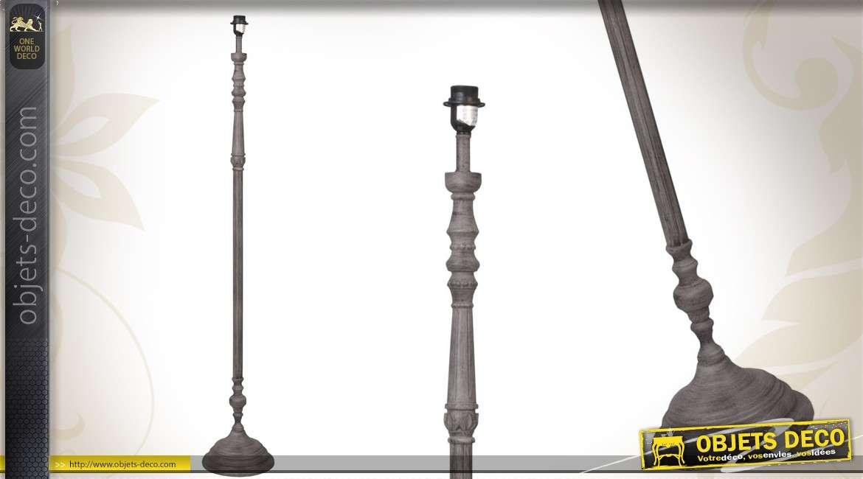 pied de lampadaire en bois vieilli et patin gris ancien. Black Bedroom Furniture Sets. Home Design Ideas