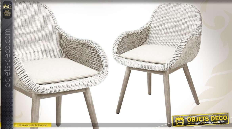 fauteuil blanc en bois et en rotin avec coussin. Black Bedroom Furniture Sets. Home Design Ideas