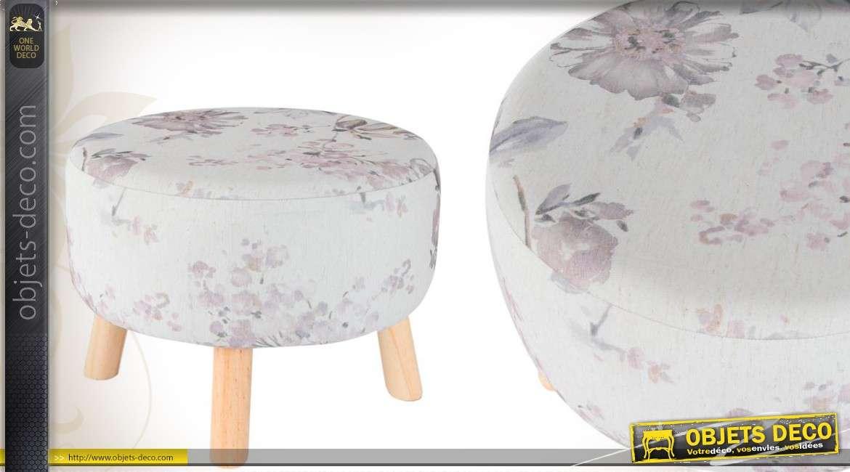 repose pieds scandinave en bois et tissu floral. Black Bedroom Furniture Sets. Home Design Ideas