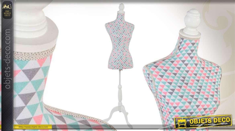 mannequin de couture en bois coloris blanc et tissu motifs g om triques. Black Bedroom Furniture Sets. Home Design Ideas