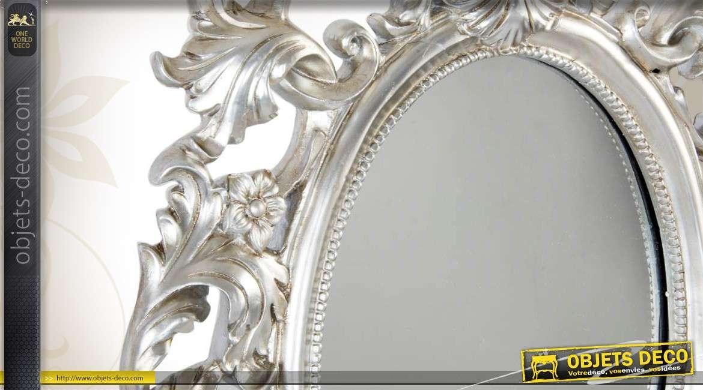Miroir mural de style baroque finition vieil argent for Miroir mural baroque