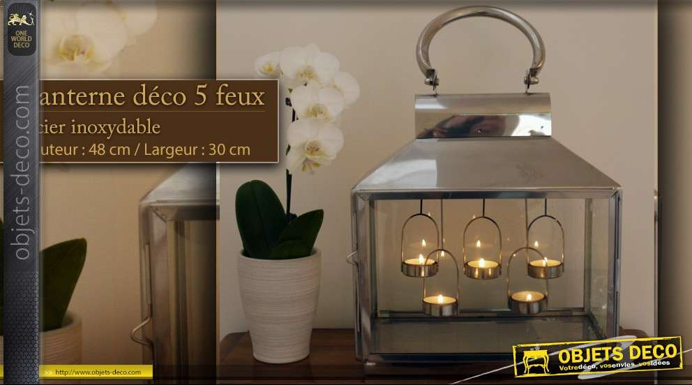 Lanterne d co 5 feux inoxydable for Lanterne deco exterieur