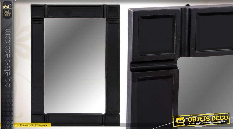 Miroir mural en bois et en verre coloris noir for Miroir mural en bois