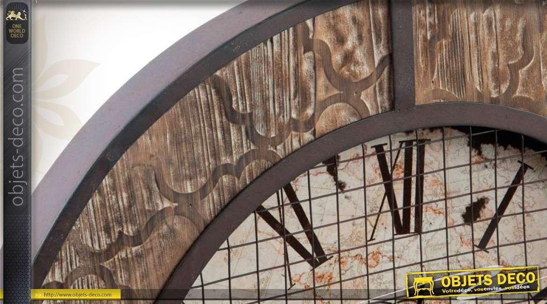 horloge murale ronde de style industriel finition ancienne. Black Bedroom Furniture Sets. Home Design Ideas