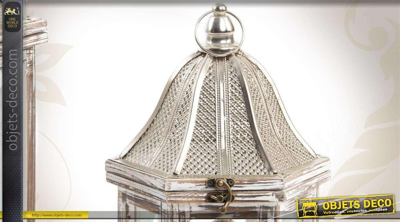 2 lanternes en bois m tal et verre finition vieillie. Black Bedroom Furniture Sets. Home Design Ideas