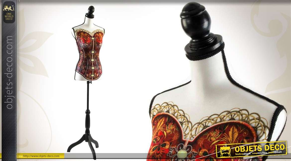 mannequin de couture d coratif en bois et tissu motif bustier. Black Bedroom Furniture Sets. Home Design Ideas