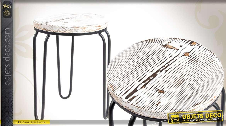 tabouret industriel en m tal patin noir. Black Bedroom Furniture Sets. Home Design Ideas