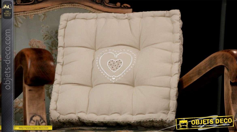 Coussin décoratif en coton coloris crème