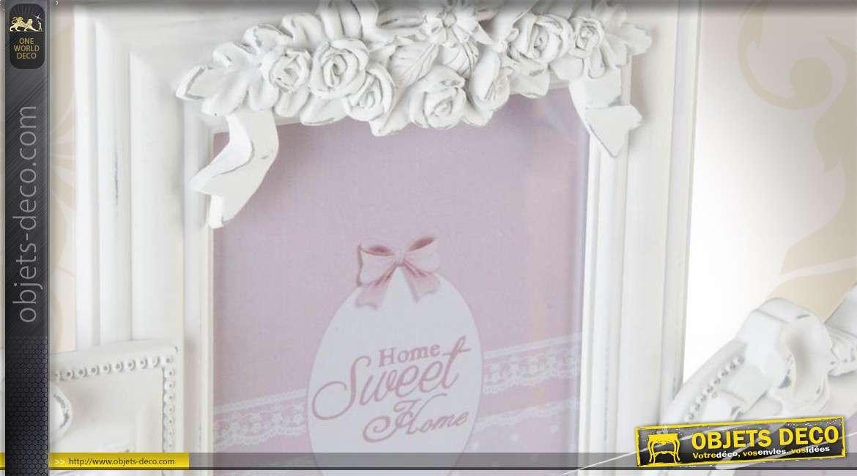 p le m le mural en bois de style romantique coloris blanc. Black Bedroom Furniture Sets. Home Design Ideas