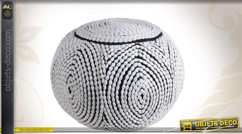 Pouf boule coloris blanc et noir