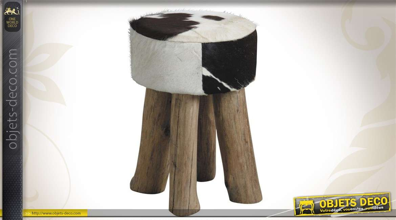 Tabouret en bois et peau de vache bicolore