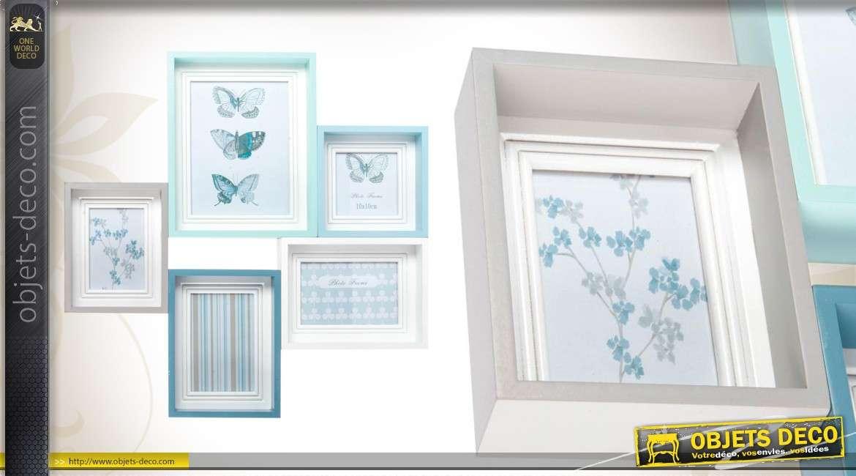 cadre photos mural 5 vues coloris pastel. Black Bedroom Furniture Sets. Home Design Ideas