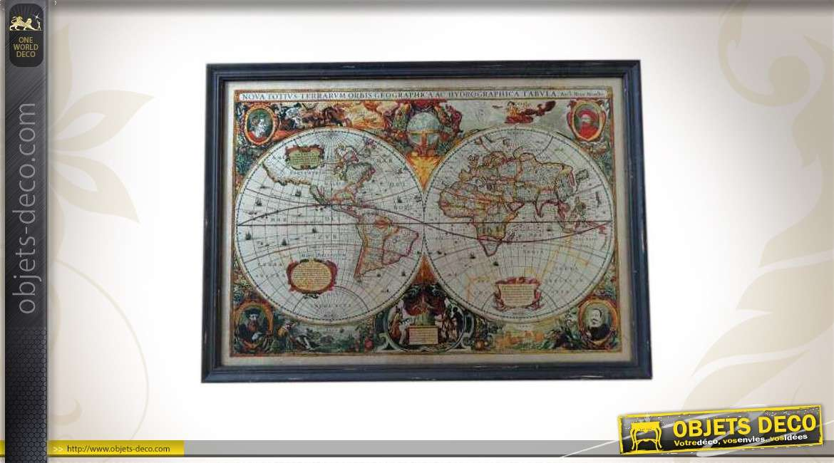 tableau mural reproduction d 39 une carte du monde ancienne. Black Bedroom Furniture Sets. Home Design Ideas