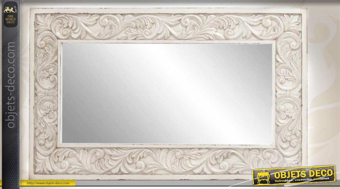 miroir mural de style ancien patin blanc et orn de sculptures de feuilles entrelac es. Black Bedroom Furniture Sets. Home Design Ideas