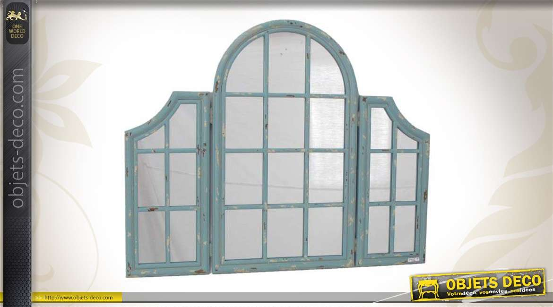 Miroir fen tre en forme d 39 arche en m tal vieilli et en verre for Miroir 3 pans