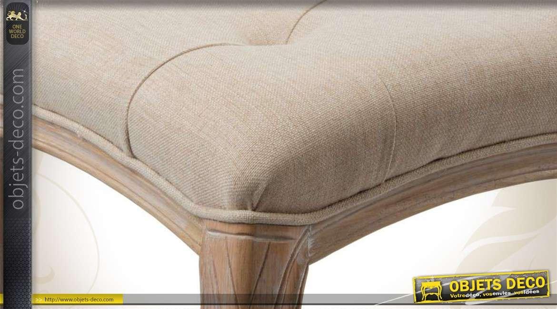 bout de lit cosy en bois et en tissu coloris naturel. Black Bedroom Furniture Sets. Home Design Ideas